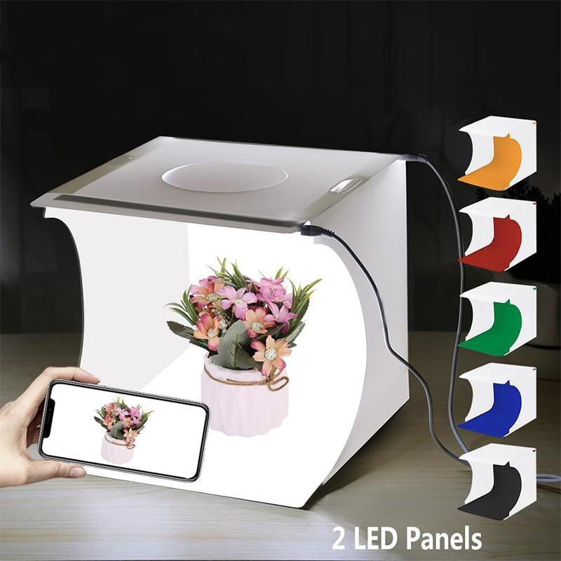 PULUZ 2 LED Panels Photography Studio Soft Box Mini Folding Lightbox Portable Photo Box With 6
