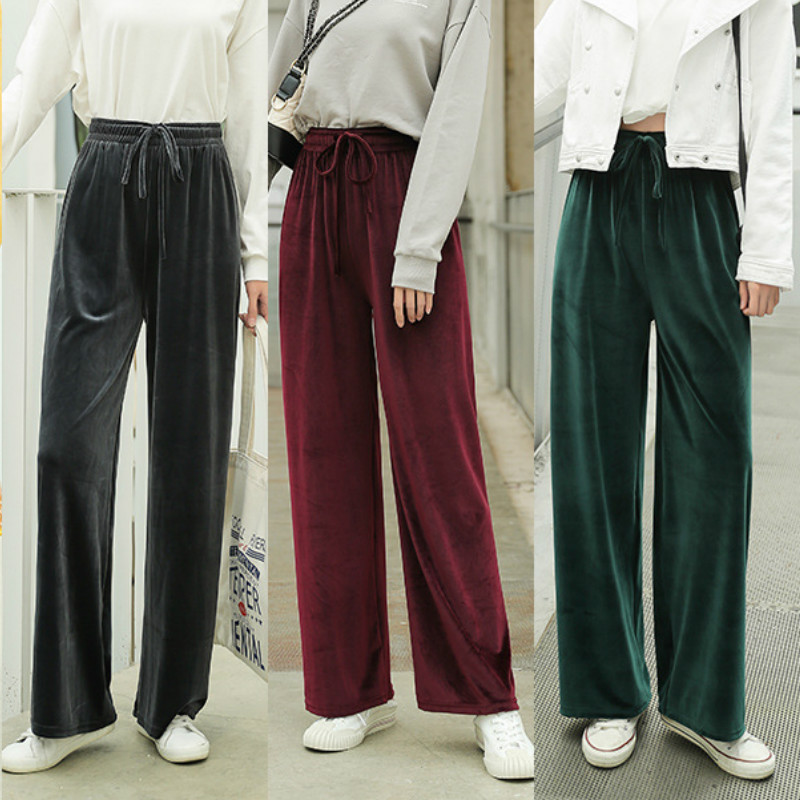 Solid Color Velvet Long   Pants   Women 2019 New Autumn Winter Trousers Harajuku Loose   Wide     Leg     Pants   Female Casual High Waist   Pants