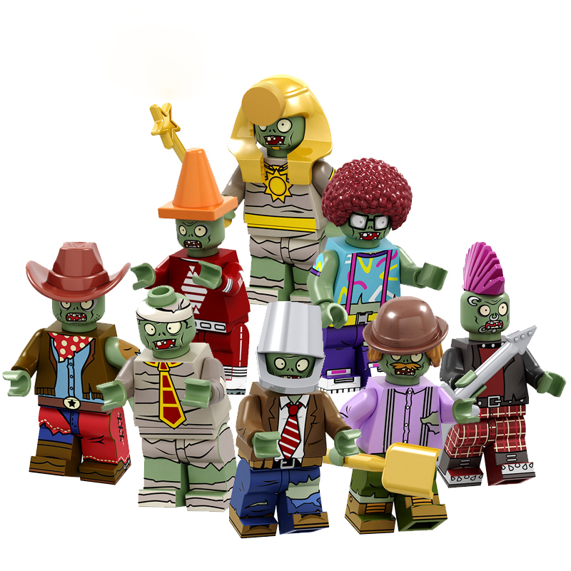 8Pcs/Set City Heroes Plants VS Zombies Conehead Bucket Afro Explorer Pharaoh Cowboys Building Block Toys Gift Compatible PG8197