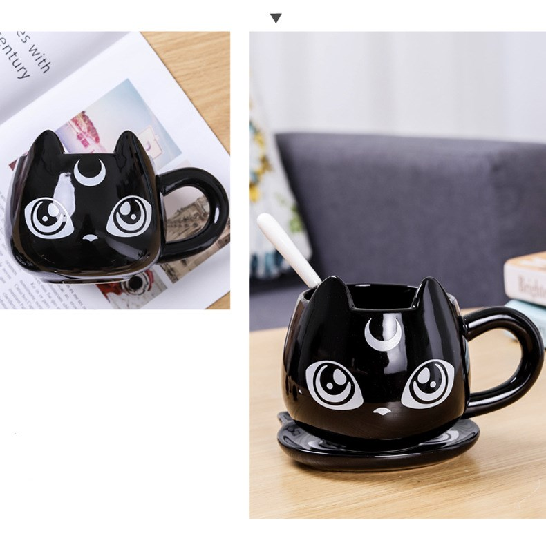 2020 New Creative Black Cat Ceramics Mugs Kids Breakfast Milk Cartoon Cups Office Afternoon Tea Coffee Mug with Tray|Mugs| |  - title=
