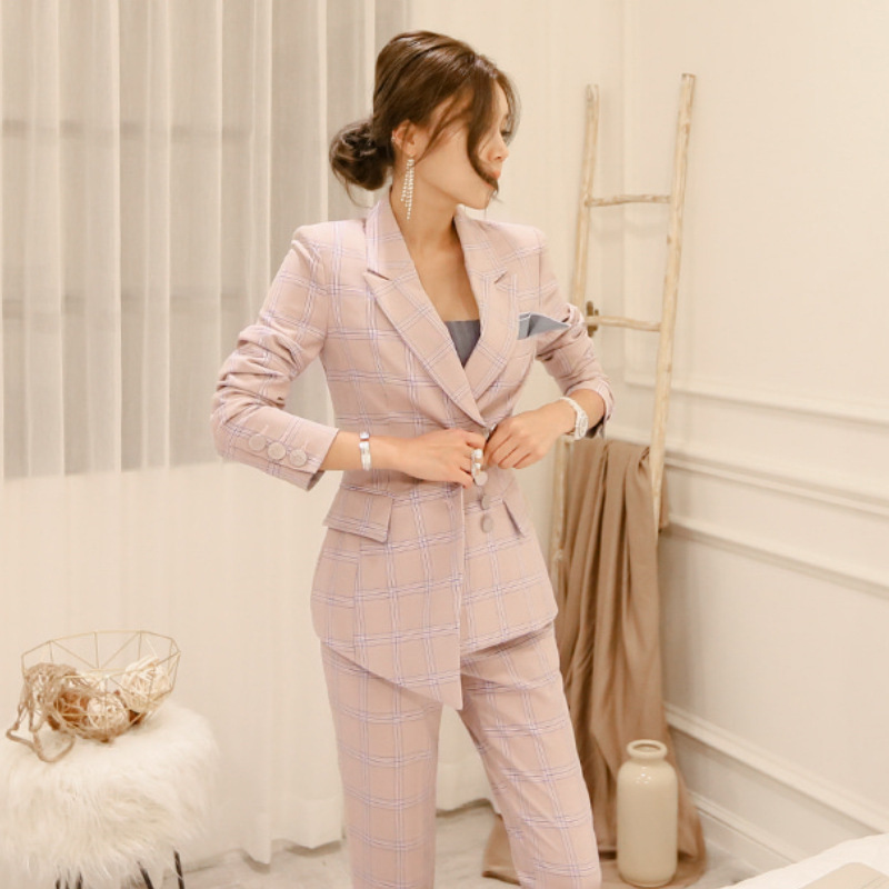 Professional Women's Suits 2019 New Autumn And Winter Slim Plaid Long-sleeved Jacket Women Casual Office Trouser Suit Two-piece