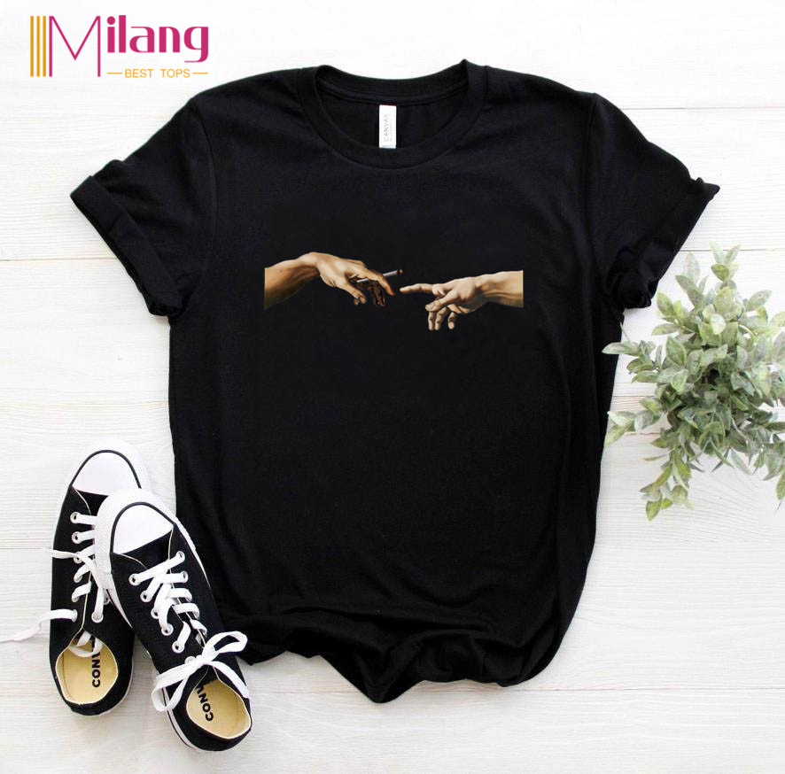Women MICHELANGELO Black T-shirts Girl Short Sleeve Tees Female 2020 Summer Brand Clothing Girl Tops