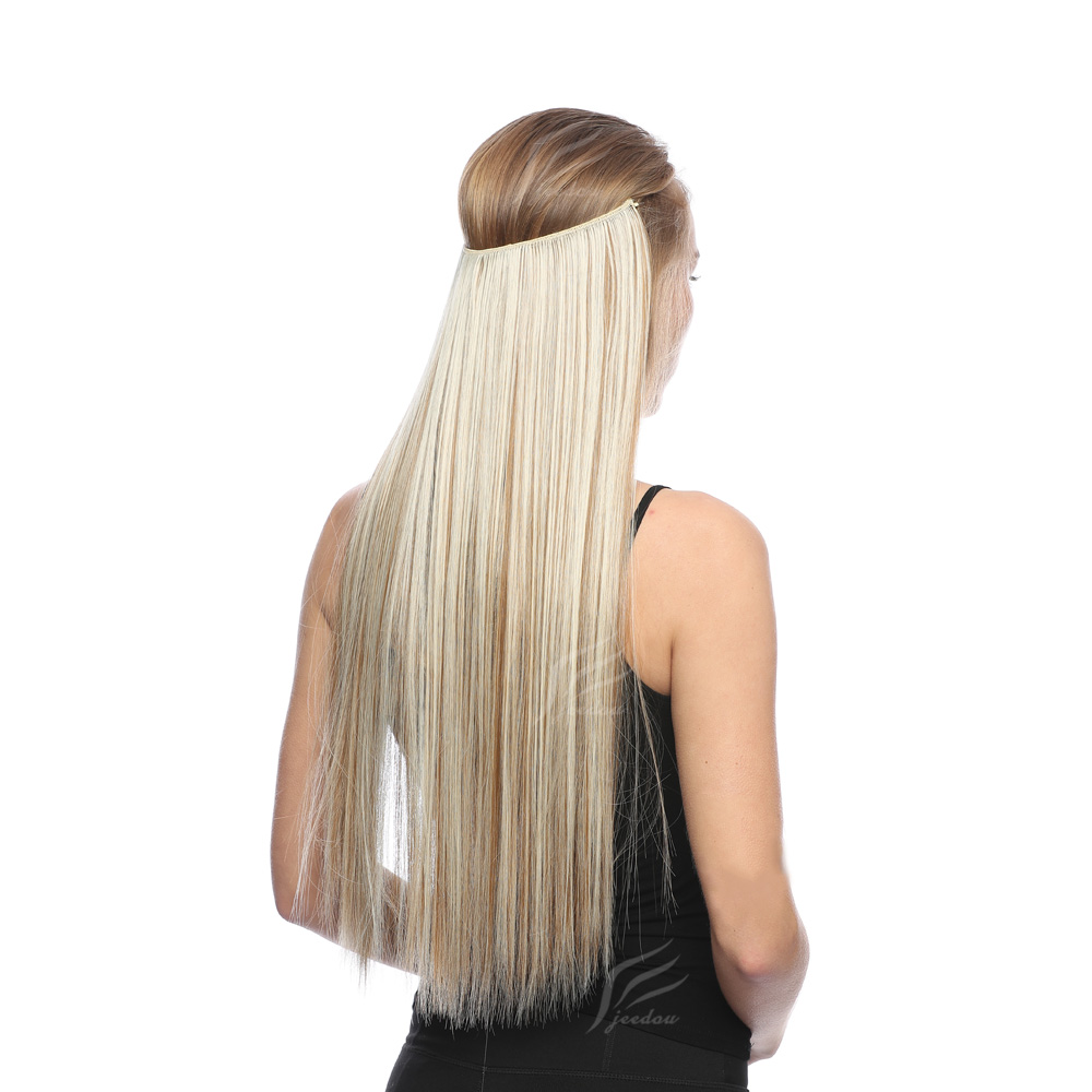 Straight 24inch Invisible Wire No Clip One Piece Synthetic Flip String Hair Extension