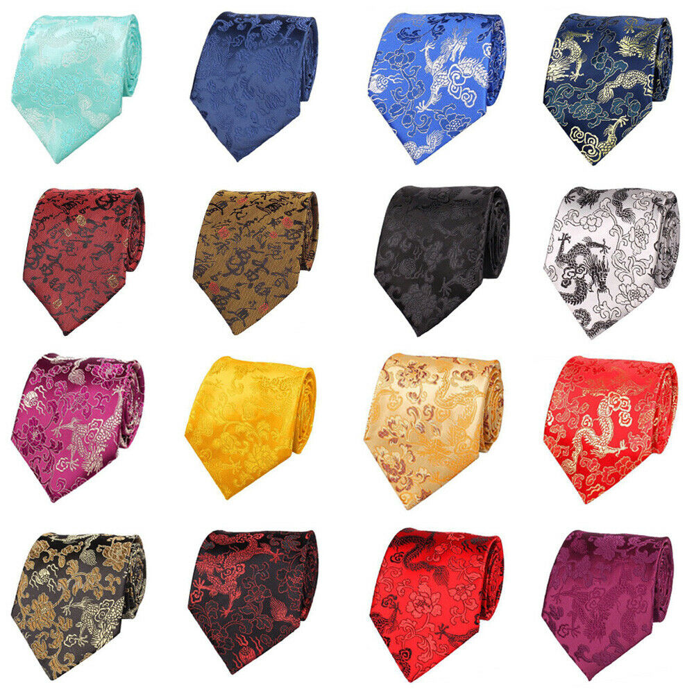 Mens Neckties Chinese Style Dragon Floral Jacquard 9CM Wide Ties Wedding Party