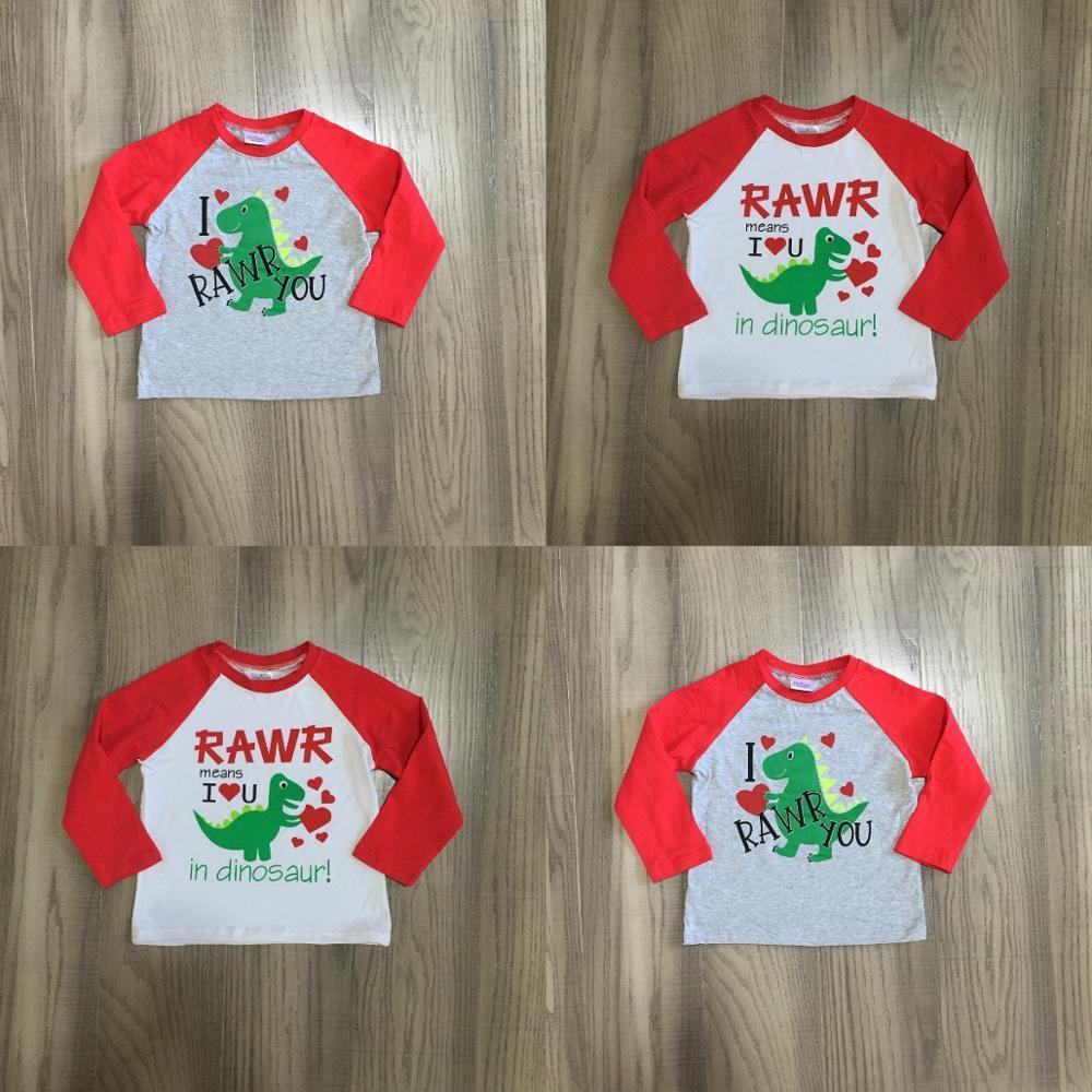Girlymax Winter Spring Valentine's Day Baby Boys Red Grey RAWR Dinosaur Raglans Boutique Cotton Top Children Clothes Heart Shape 1