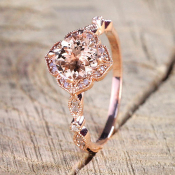 CHAMSS Rose Gold Square Engagement Ring Elegant Temperament Feminine Valentine Gift 1