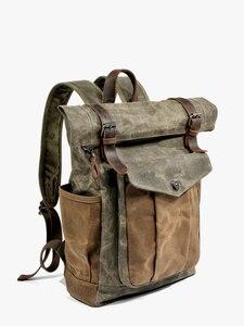 Image 4 - MUCHUAN Vintage Vintageกระเป๋าเป้สะพายหลังผ้าใบสำหรับผู้ชายน้ำมันแว็กซ์ผ้าใบหนังกระเป๋าเป้สะพายหลังกันน้ำขนาดใหญ่Daypacks Retro Bagpack