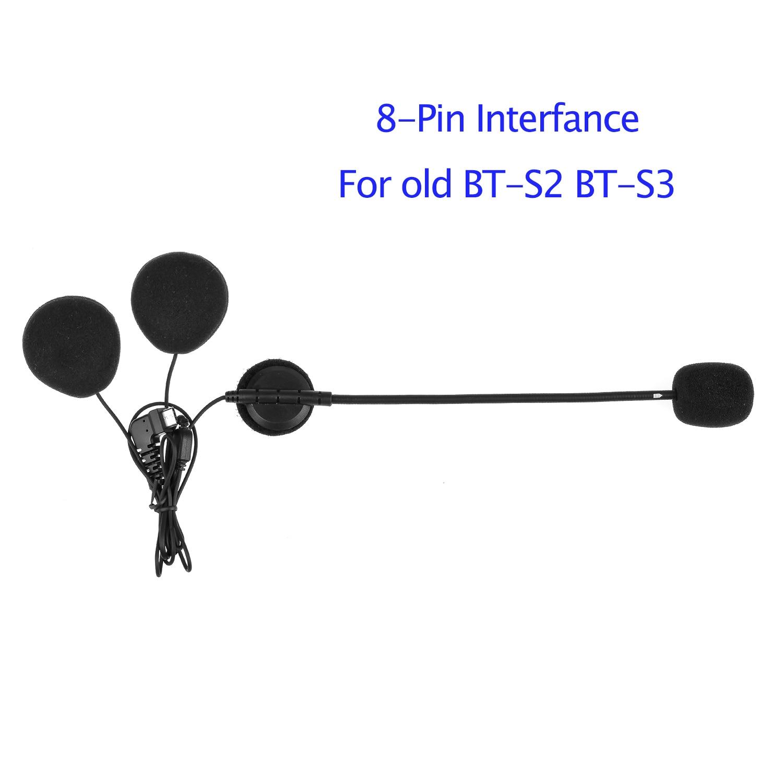 Fodsports BT-S2 S3 Helmet Intercom Headset Earphone 8-Pin Interface Motocycle Wireless Bluetooth Helmet Interphone Hard/Soft Mic