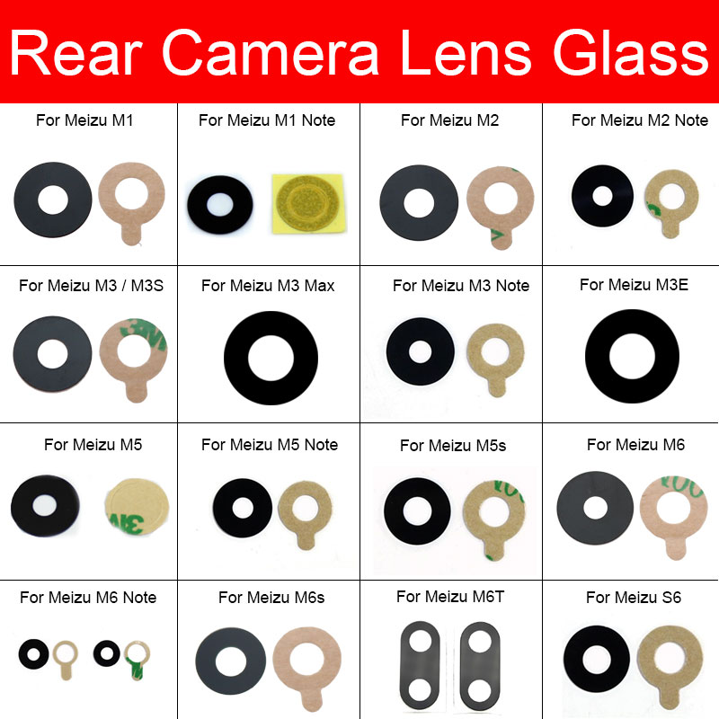 Back Rear Camera Glass Lens For Meizu M1 M2 M3 M3s M3E M5 M5s M6 M6s M6T S6 Max Note Camera Glass Lens With Adhensive Sticker