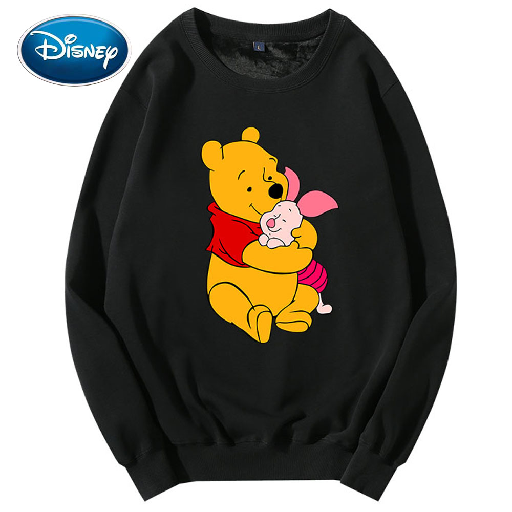 Disney Sweatshirt Winnie The Pooh Bear Cartoon Print O-Neck Pullover Cute Couples Unisex Women Long Sleeve Tops S - XXL 8 Colors