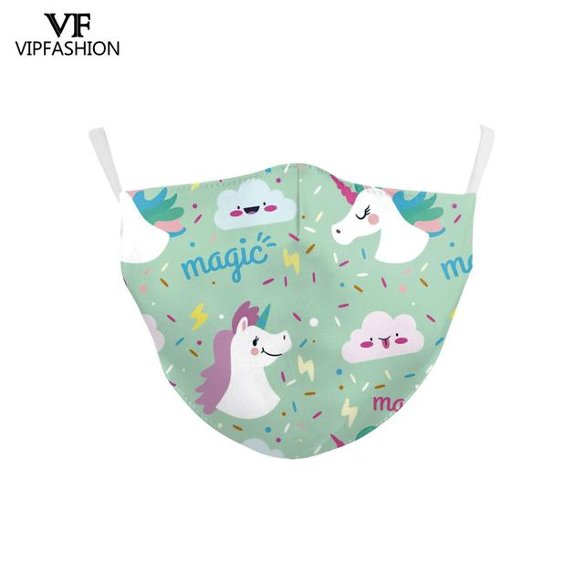 VIP FASHION Reusable Children's Cartoon Anime Unicorn Cute Printed Kid Face Masks Protective PM.25 Dustproof Haze Mask 5