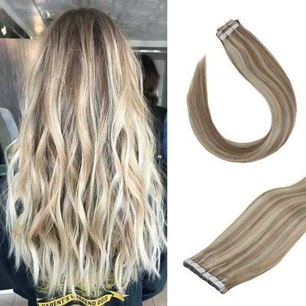 Taśma klejąca VeSunny w przedłużeniach włosów wyróżnij blond 100 prawdziwe ludzkie włosy 20 sztuk # P18 613 brązowy 50gr tanie i dobre opinie CN (pochodzenie) 2 5 g sztuka P18 613 Nie remy włosy