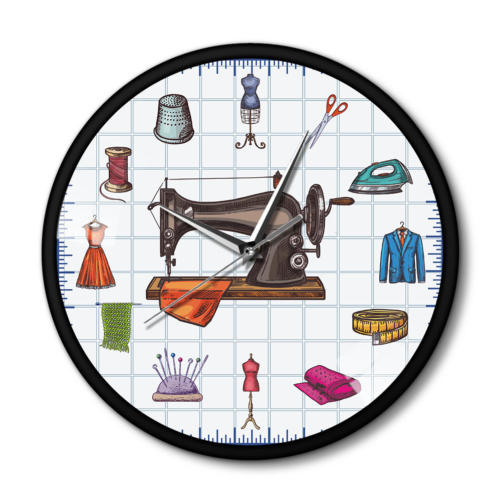Quilting Time Seamstress Crafting Room Wall Art Clock Watch Sew Accessories Sewing Machine Metal Frame Wall Clock Gift For Her