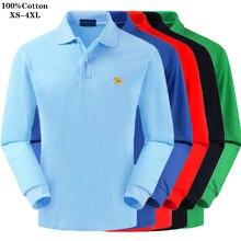 Polo d'automne à manches longues pour hommes, en pâte de coton pur de haute qualité, avec logo à revers, couleur unie, grande taille