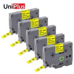 UniPlus 5pk tze 631 tz631 drukarka do etykiet 12mm dla brata drukarka etykiet PT TZe 631 tze631 taśmy etykietowe czarny na żółtych wstążkach|Taśmy do drukarek|   -
