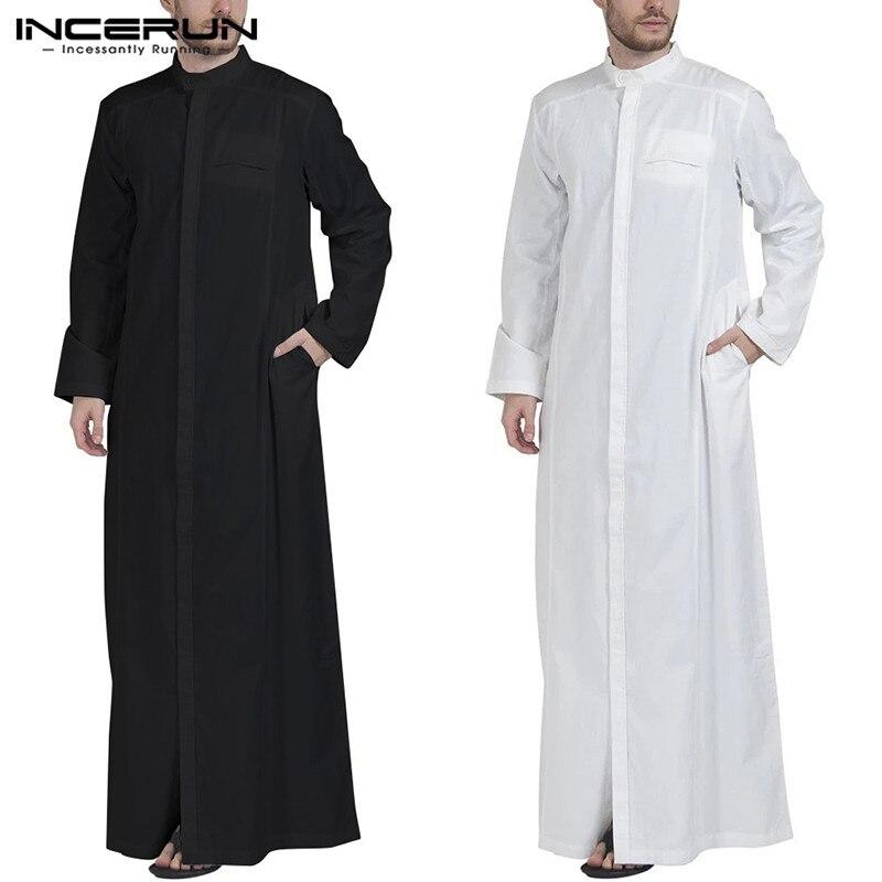 INCERUN мужская одежда в мусульманском стиле, однотонная, с длинным рукавом и воротником-стойкой, мантия для мужчин из Дубаи, на среднем каблуке...