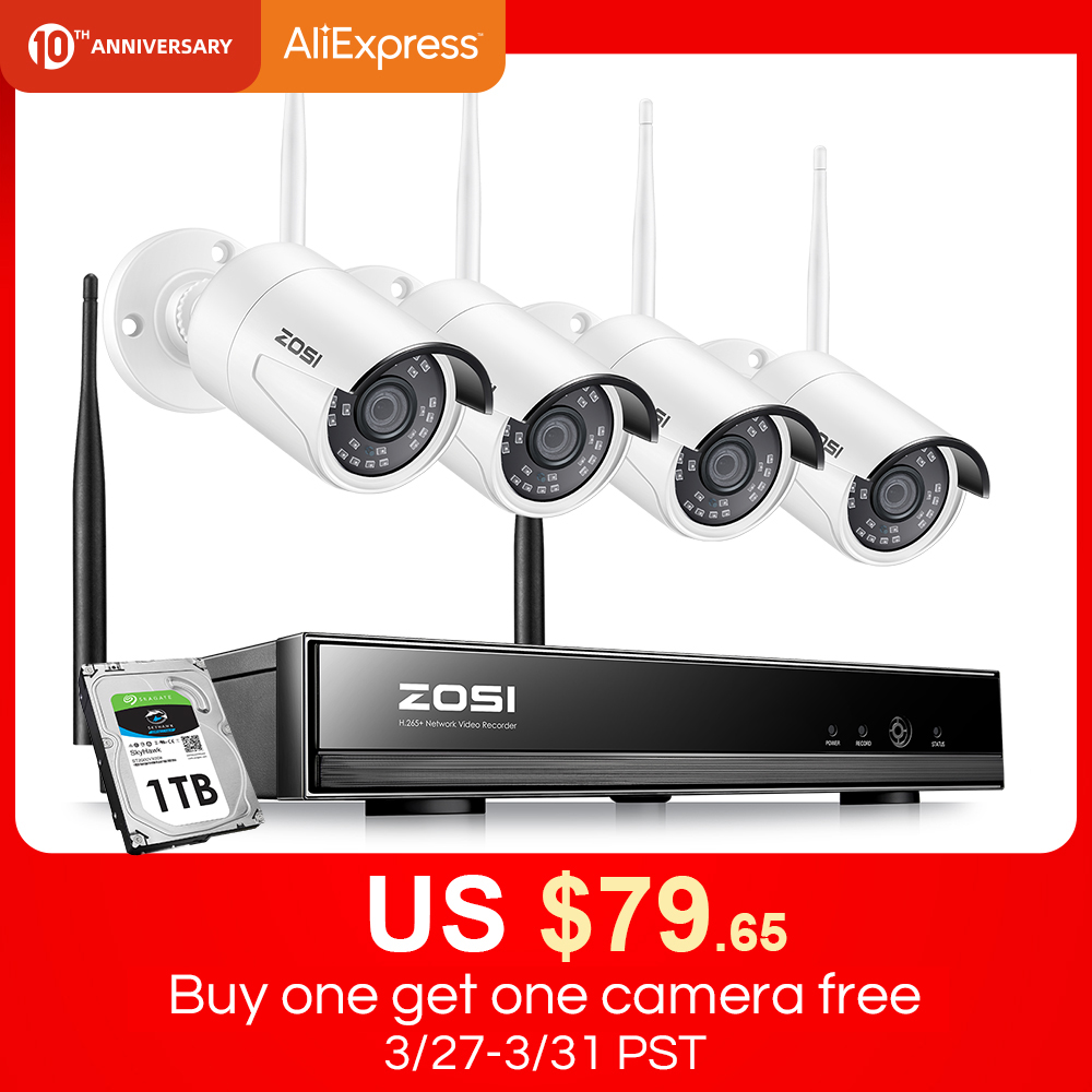 ZOSI Cctv-System NVR Video-Surveillance-Kit Outdoor 2MP H.265 1080P Wireless 8CH IR-CUT title=