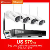 ZOSI 8CH Wireless CCTV System H.265+ 1080P NVR 2CH/4CH 2MP IR-CUT Outdoor CCTV Camera IP Security System Video Surveillance Kit