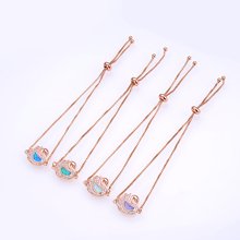 The new 2019 ms white swan contracted fashion jewelry bracelet handmade diy natural opal rose gold chain as a gift for women
