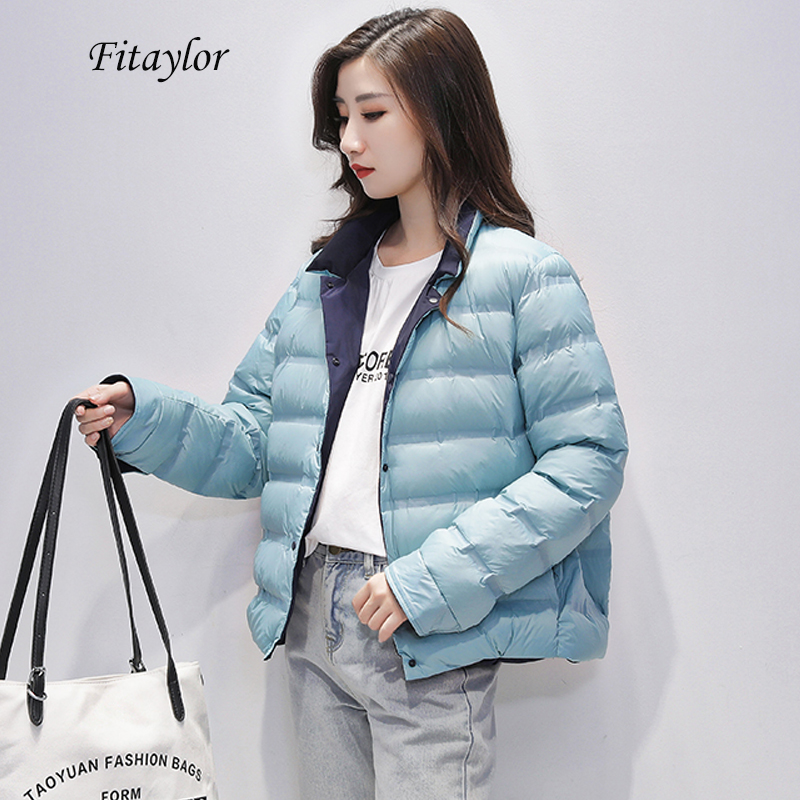 Fitaylor Winter Double-sided Wear Ultra Light Down Jacket Women Warm Thickness Single Breasted Female White Duck Down Outerwear