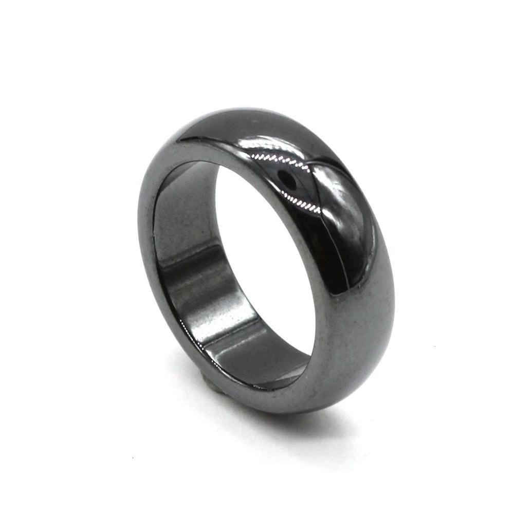KFT натуральный черный гематит магнитное лечебное кольцо 6 мм размеры ремешка от 5 до 12 мужчин Wo мужское кольцо ювелирные изделия