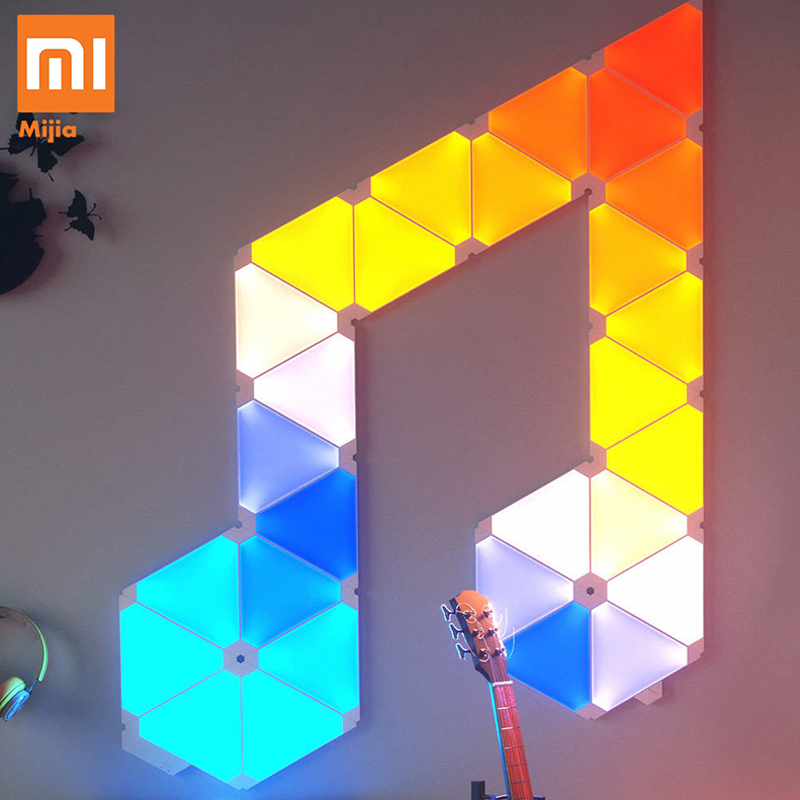 Original Xiaomi Nanoleaf Colorful Smart Odd Light Board Work With Mijia For Apple Homekit Google Home Custom Setting 4pcs/1box