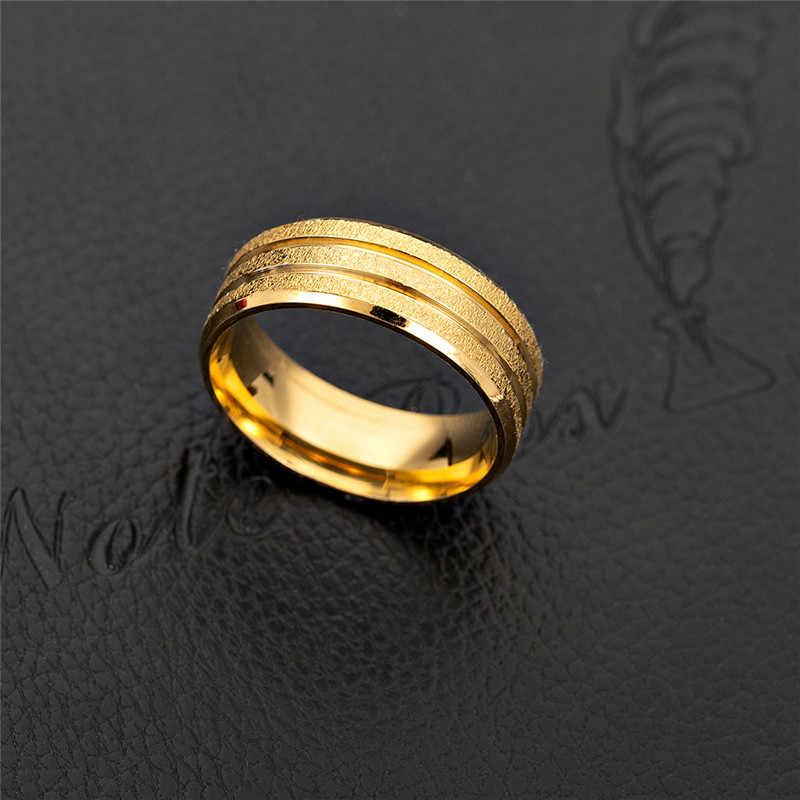 Goldene Matt Paar Ring Männer Frauen Vintage-Schmuck-Finger Ringe Für Frauen Mode Edelstahl Ringe Herren Engagement Ringe