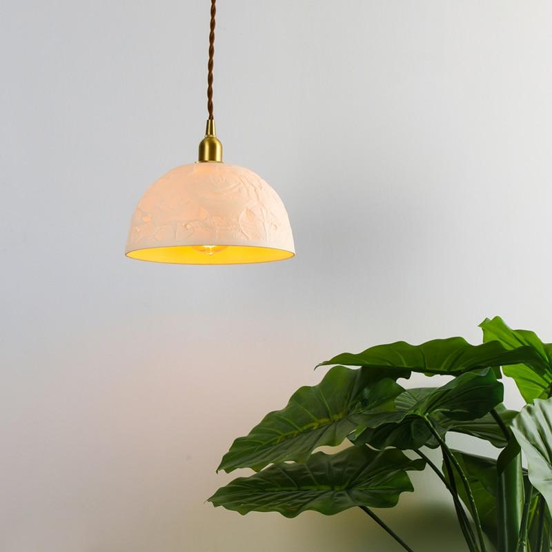 Nordic Copper Pendant Lights Lamp Ceramics Hanging Lamp Lights Art Deco Pending Lighting Living Room Dining Room Bedroom Loft