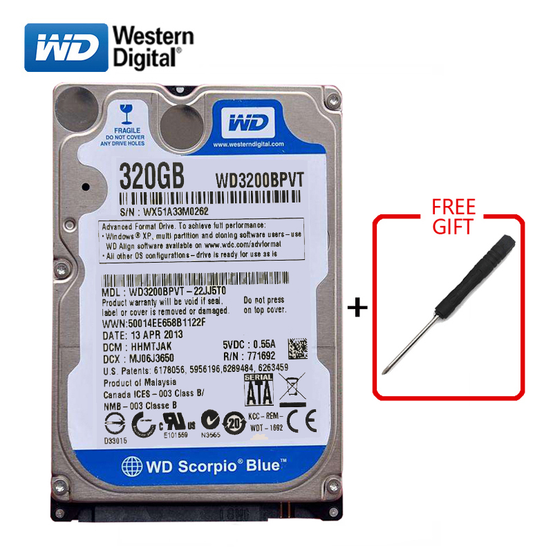 "WD Brand 320Gb 2.5"" SATA Internal Hard Drive 320G HD Hard Drive 3-6Gb/s 5400RPM-7200RPM Blue Hard Disk For Laptop Free Shipping"