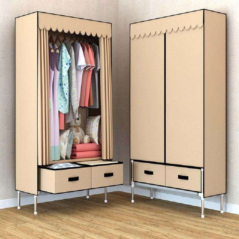 New Luxury 2 Drawers DIY Non-woven Folding Portable Wardrobe Bedroom Furniture Bedroom Storage Cabinet