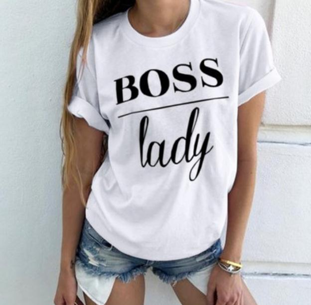 Boss Lady Letter Print T Shirt Women Short Sleeve O Neck Loose Tshirt 2019 Summer Women Tee Shirt Tops Camisetas Mujer