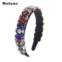 Molans Baroque Full Diamond Head Bezel Colorful Dazzling Fashion New Headwear Handmade Artificial Diamond Female Hair Accessory(China)