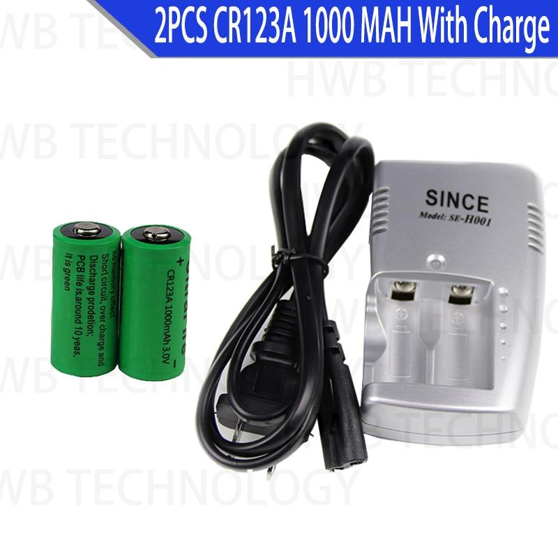 2X 16340 1000mah 3v cr123a 16340 recargable de la batería de 3,0 v rcr123a 16340 baterías de litio + 1pc 3,8 v cargador de batería