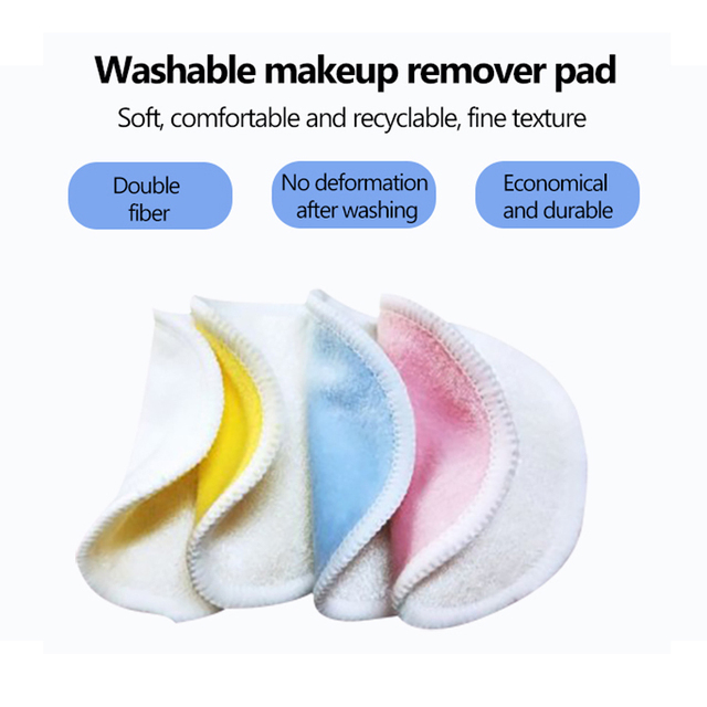 2/5pcs Reusable Bamboo Fiber Makeup Remover Pads  Washable Rounds Cleansing Facial Cotton Make Up Removal Pads Tool 2