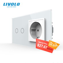 Livolo 16A euの標準壁電源ソケットとスイッチ、AC220 〜 250v、 7 色クリスタルガラスパネル、C702 C7C1EU 11 、なしロゴ