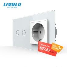 Livolo prise électrique murale 16A avec interrupteur tactile, 7 couleurs ac 220 250V, panneau en verre cristal, C702 C7C1EU 11, sans logo