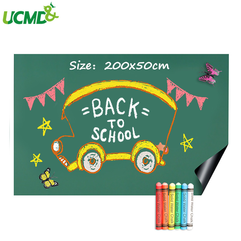 200x50cm Wall Decoration Green Board Chalkboard Sticker Roll Hold Magnets School Office Graffiti Writing Learning Message Board
