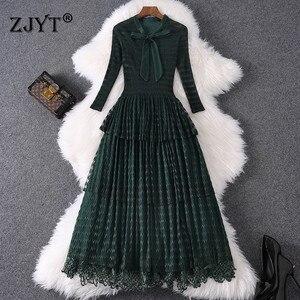 Модные дизайнерские женские весенние платья 2020 Новые элегантные женские кружевные лоскутные платья миди с бантом и оборками