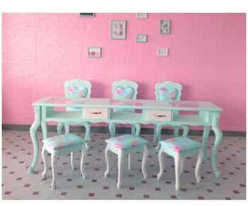 New paint blue specials double-layer nail table, single and double three-person nail table and chair set