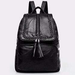 Femmes en cuir véritable sac à dos sac d'école classique noir étanche voyage sac à bandoulière multi-fonction sac à dos femmes