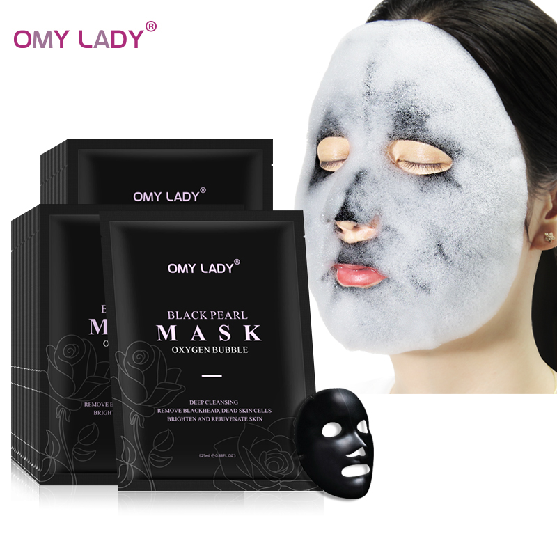 OMY LADY Oxygen Bubble Face Mask Amino Acid Deep Pore Clean Black Face Mask Whitening Moisturizing Shrink Pores Facial Skin Care