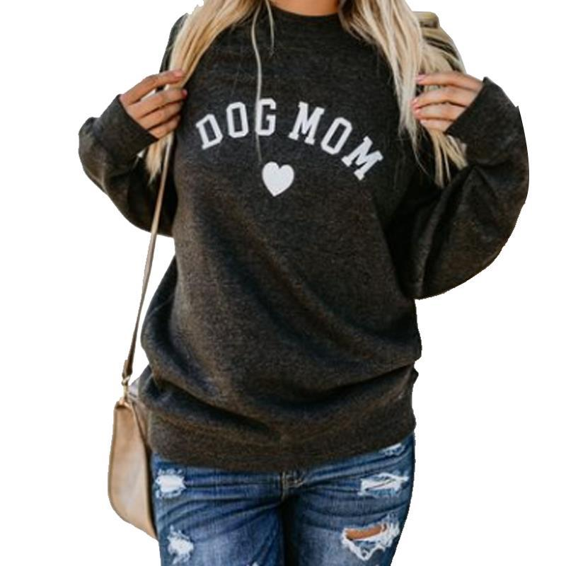 Dog Mom Women Velvet Hoodies Women Long Sleeve Sweatshirt Women Heart-shaped Print Hoodie Sudadera Mujer Sweat Femme Riverdale