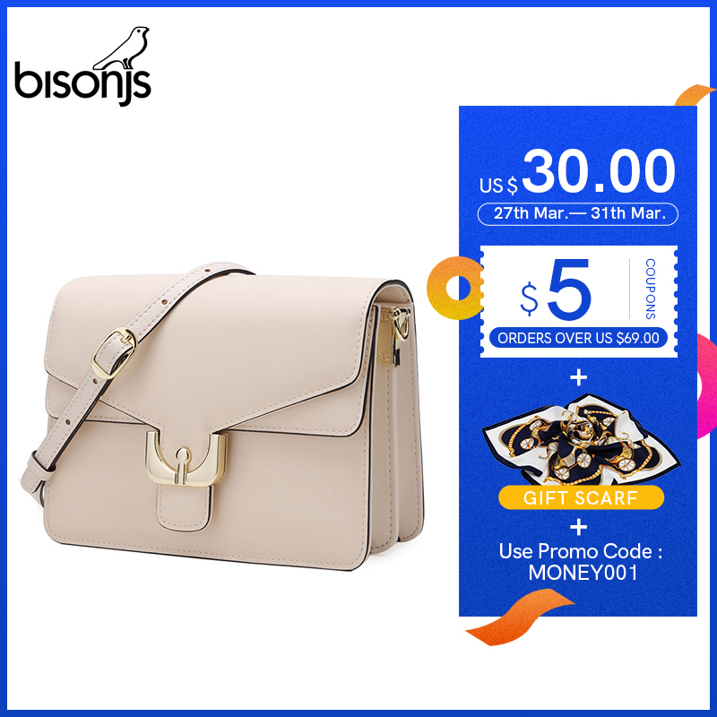 BISONJS Female Shoulder Bags Cow Leather Ladies Bag For Women  Luxury Crossbody Bag High Quality Messenger Bag B1966