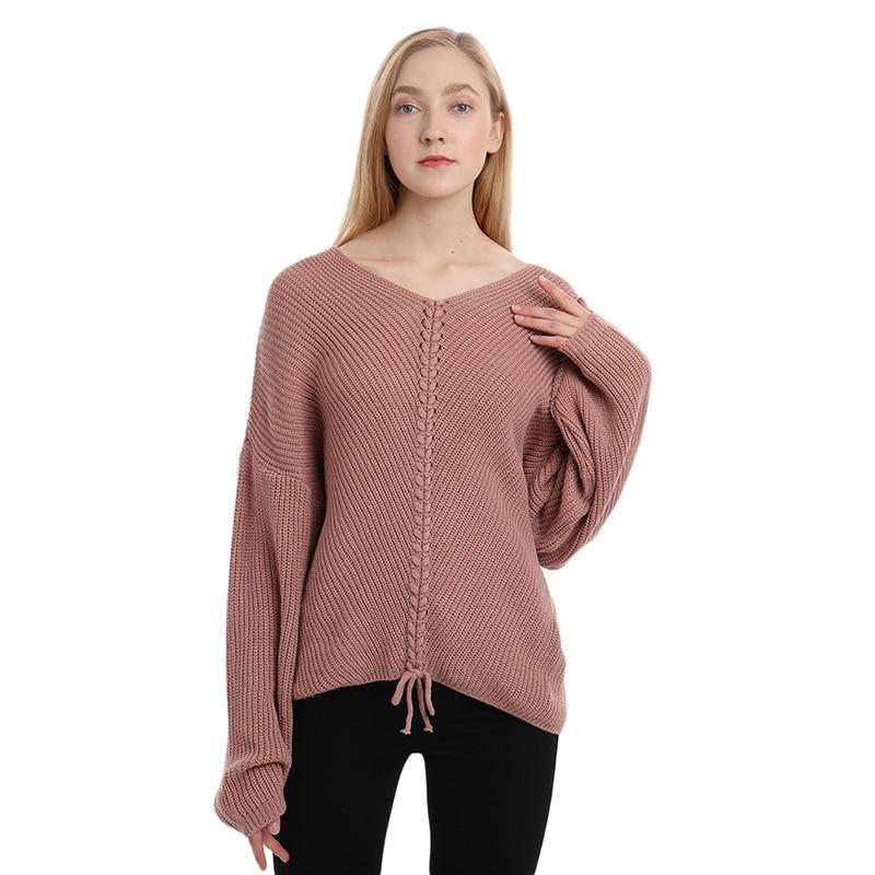 Осенний свитер женский свободный сшитый удобный вязаный шерстяной свитер Повседневная стильная женская одежда