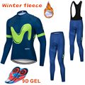 2019 Movistar Mannen Lange Thermische Fleece Fietsen Kleding Team Pro Wielertrui Winter Bib Set MTB Kampioen Ropa Ciclismo Maillot