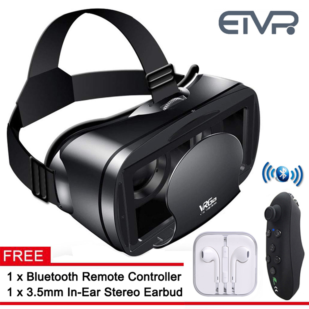 ETVR 3D Movies Games Glasses VR Box Google Cardboard Immersive Virtual Reality Headset with Controller Fit 5-7 inch Smart phone 3