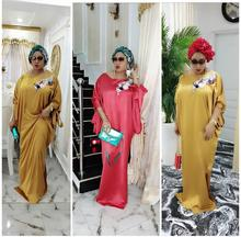 Vintage Maxi Dress Plus Size African Satin Bat Sleeve Casual Retro Loose silk satin solid color women dress