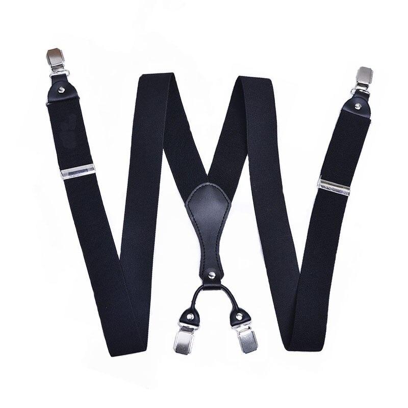 Cross Border Men Suspender Strap For Both Men And Women Regulation Elastic Suspender Strap Clip 3.5 Monochrome Genuine Leather S