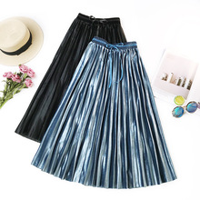 AcFirst Autumn Winter Blue Pink Silver Women Skirts High Waist Pleated Mid-Calf Skirt Vintage A-Line Long Sashes