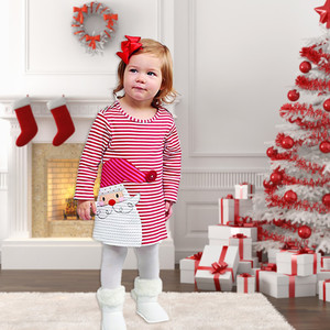 Toddler Christmas Dress For Kid Baby Girls Winter Santa Claus Striped O-neck Princess Dress Baby Girl Clothes Cloth Outfits#45